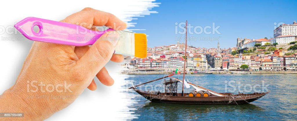 Hand drawing a typical portuguese boats used in the past to transport the famous port wine - concept image stock photo