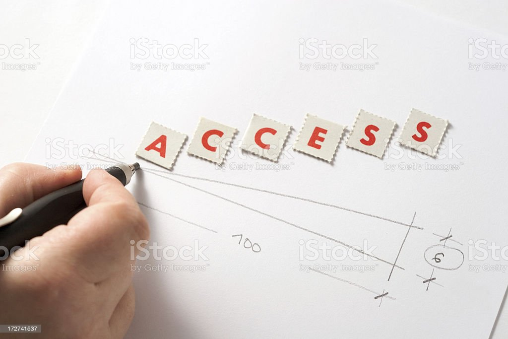 Hand drawing an accessible ramp. The word access. stock photo