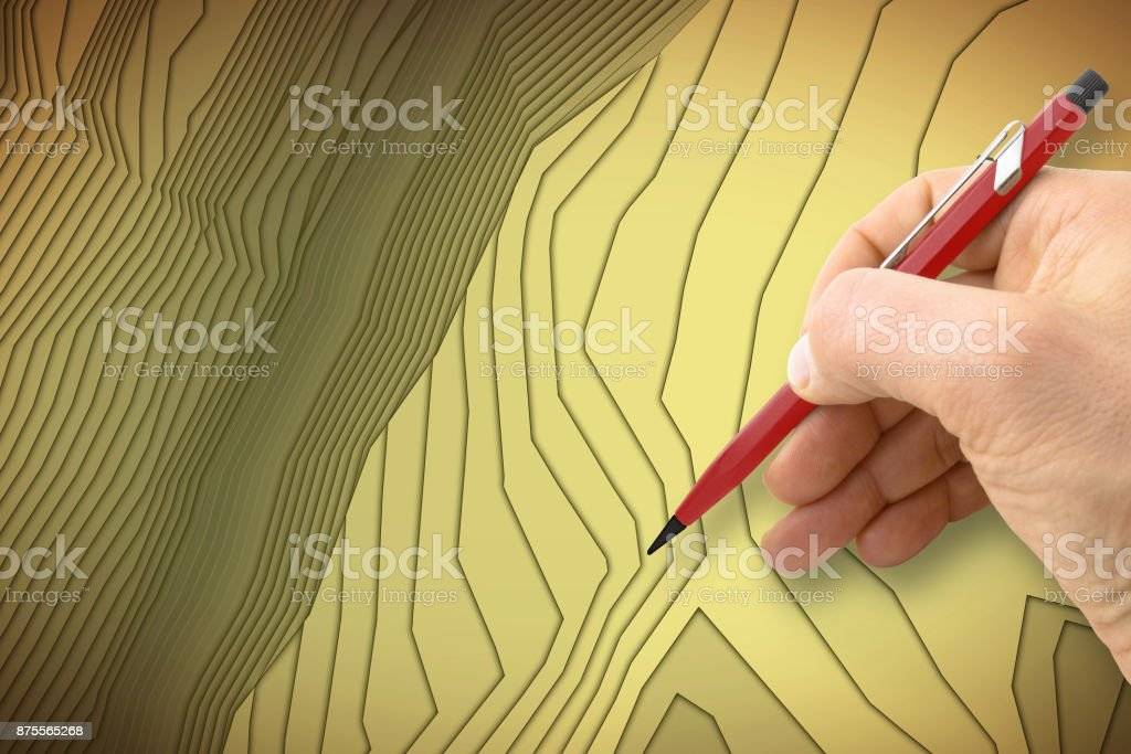 Hand drawing an imaginary cadastral map of territory - concept image with copy space stock photo