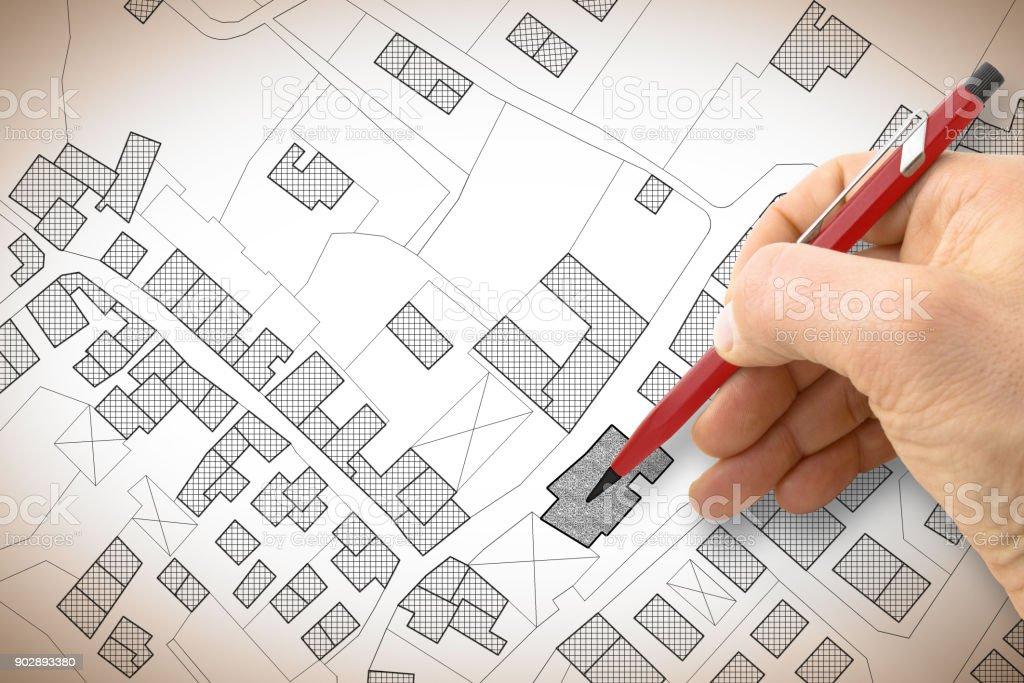 El çizimi bölge binaları ve yollar ile hayali bir Kadastro Haritası - Royalty-free Dört yol Stok görsel