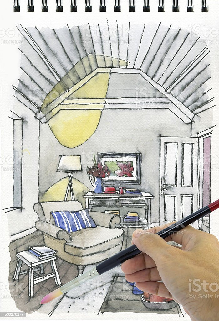 Hand Drawing And Painting Watercolor Illustration Interior Of Living Room Royalty Free Stock Photo