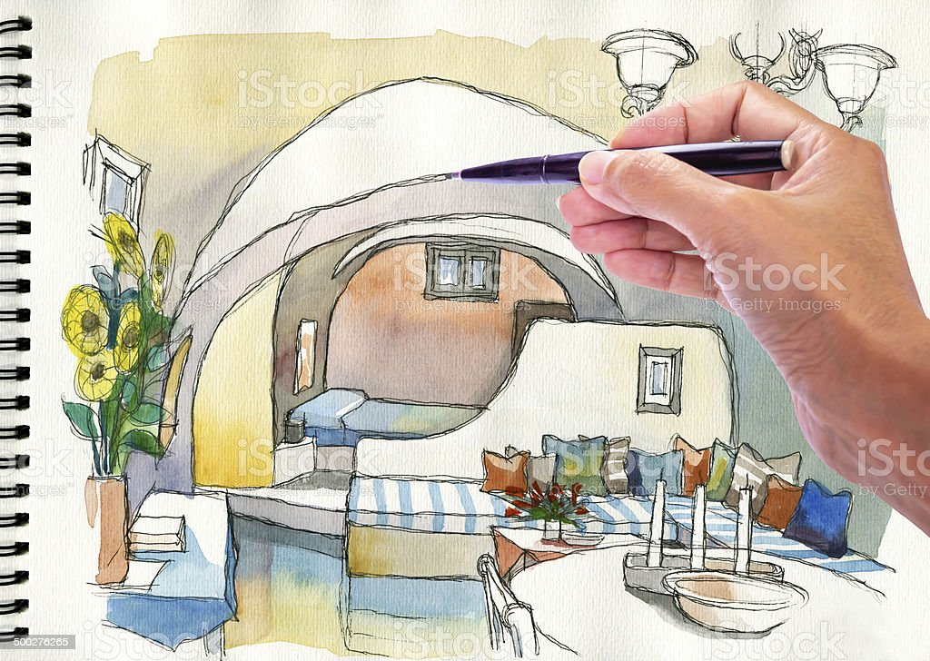 Hand Drawing And Painting Watercolor Illustration Of Mediterranean Living Room Royalty Free Stock Photo