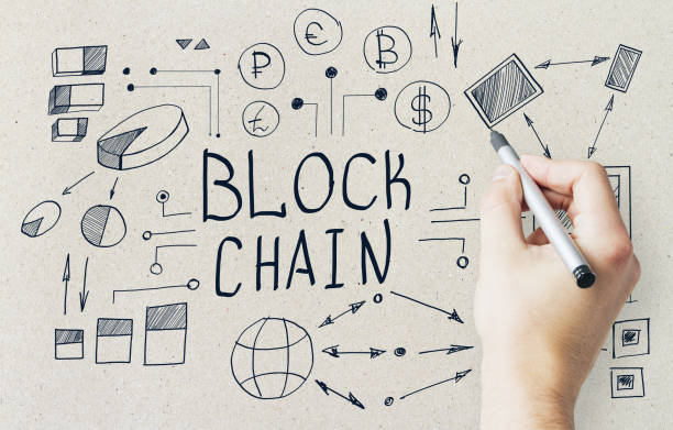 Hand drawing blockchain sketch Hand drawing creative blockchain sketch on concrete wall background. Cryptocurrency and payment concept initial coin offering stock pictures, royalty-free photos & images