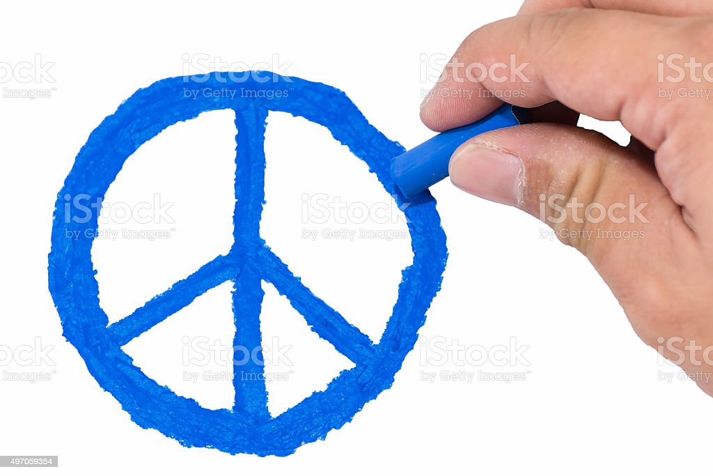 Hand Drawing Blue Color Peace Symbol Stock Photo Istock