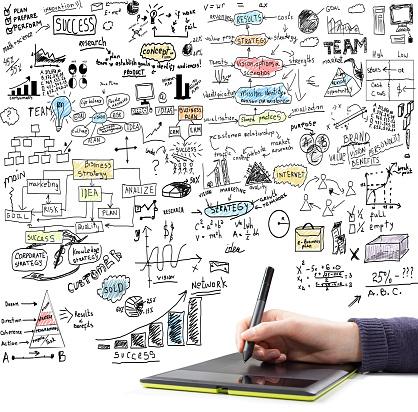 Hand Drawing Brainstorming Doodles Stockfoto en meer beelden van Abstract