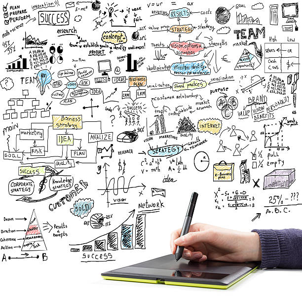 hand drawing  brainstorming doodles - doodle stock photos and pictures