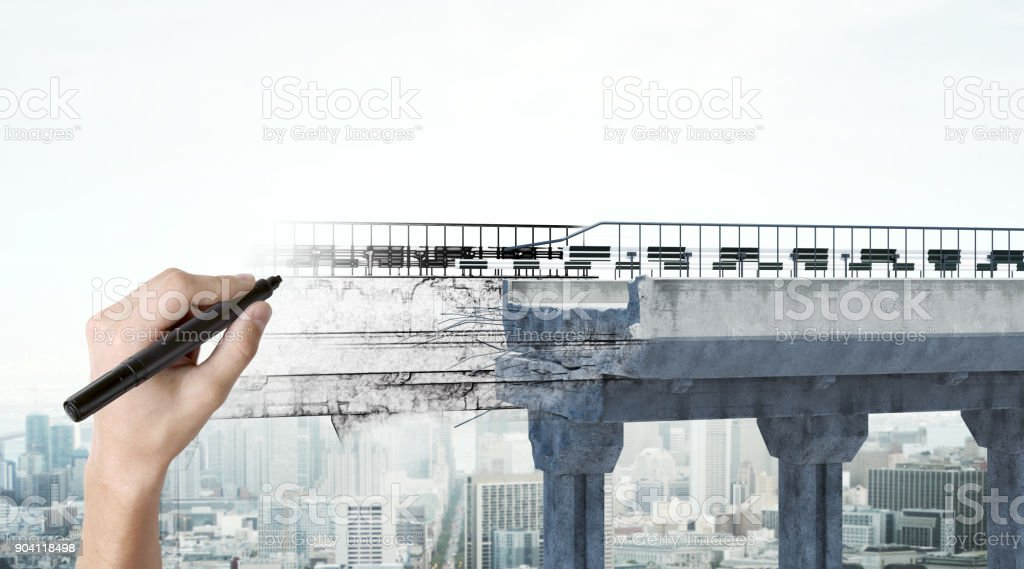 Hand drawing bridge stock photo