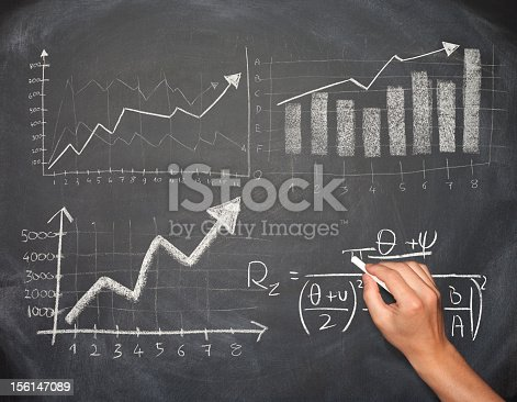 istock Hand drawing business chart and formula on a blackboard 156147089