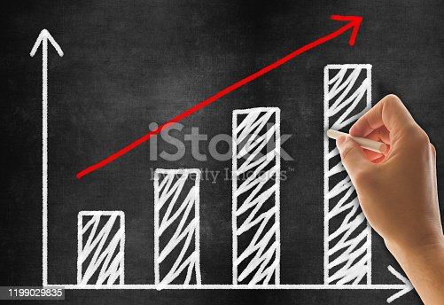 527033580 istock photo Hand Drawing Business Graph on Blackboard Background 1199029835