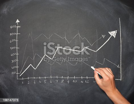 istock Hand drawing business graph with arrows going up 156147073