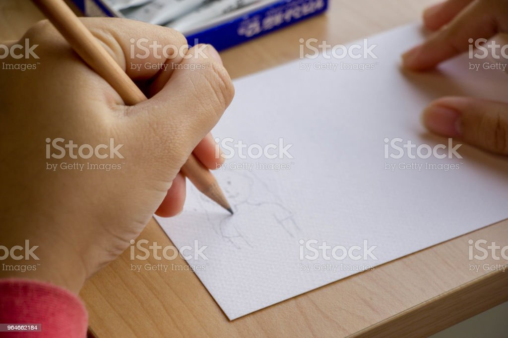 hand drawing cartoon on paper royalty-free stock photo
