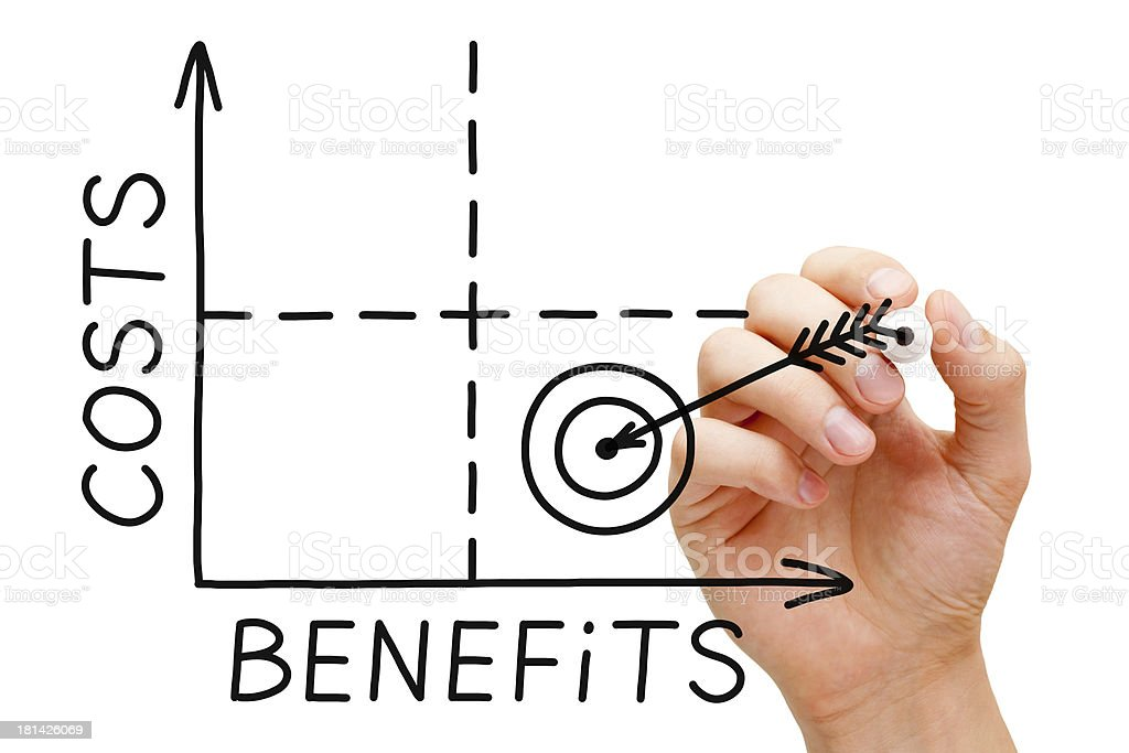 Hand drawing costs and benefits graph stock photo