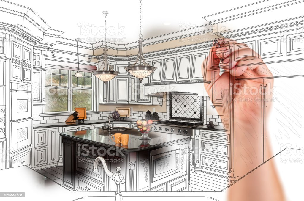 Hand Drawing Custom Kitchen Design With Gradation Revealing Photograph. stock photo