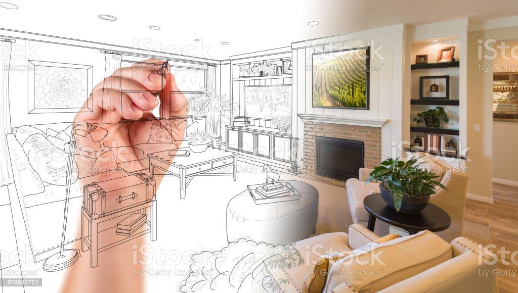Hand Drawing Custom Living Room Design With Gradation Revealing Photograph. stock photo