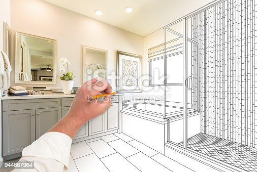 istock Hand Drawing Custom Master Bathroom with Cross Section of Finished Photograph. 944867964