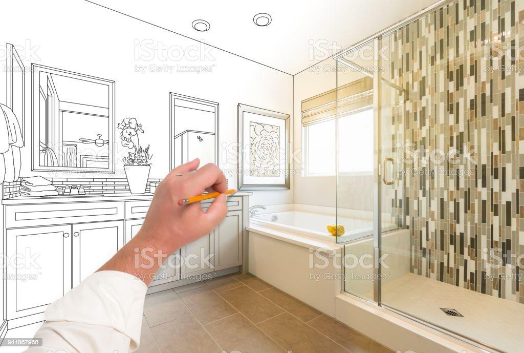 Hand Zeichnung Custom Master Badezimmer Mit Querschnitt Fertigen Foto.  Lizenzfreies Stock Foto