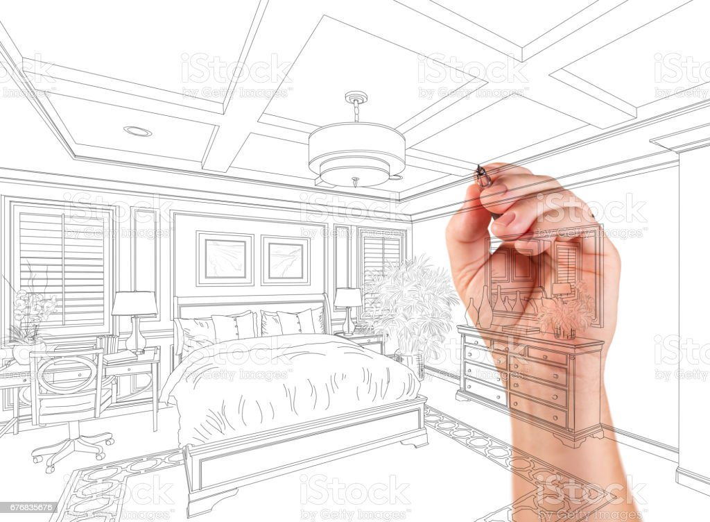 Hand Drawing Custom Master Bedroom Design On A White Background. stock photo