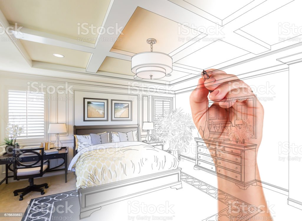 Hand Drawing Custom Master Bedroom Design With Gradation Revealing Photograph. stock photo