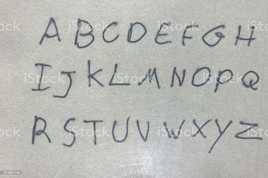 Hand drawing English alphabet stock photo