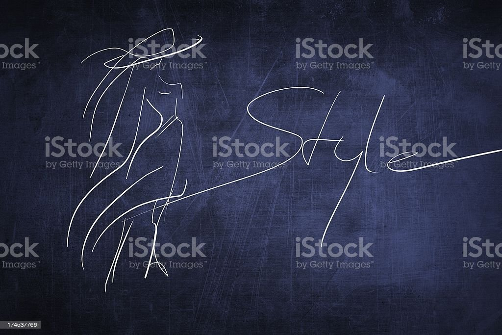 Hand drawing fashion style sketch, chalkboard royalty-free stock photo