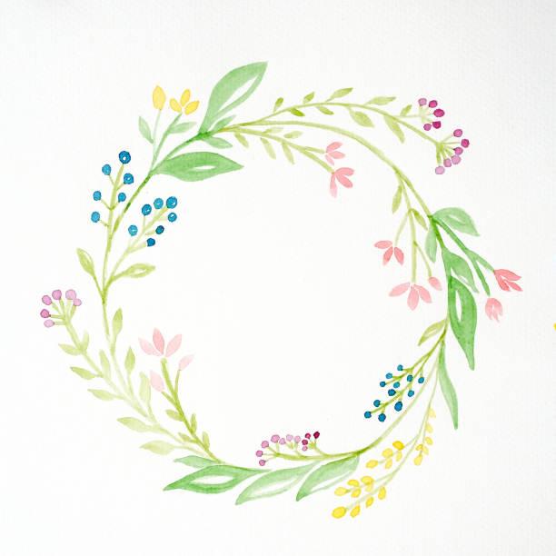 Handzeichnung Blumen in Aquarell Stil auf weißem Papierhintergrund, Skizze des Blumen-Kranz mit textfreiraum für SMS, Grußkarte – Foto