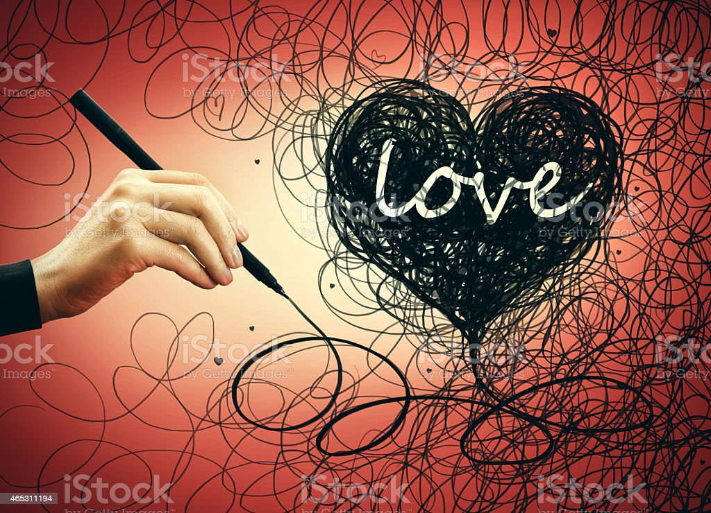 Hand drawing heart shape stock photo