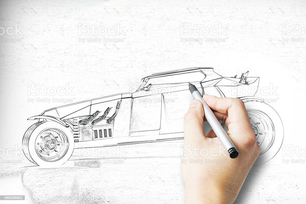 Hand drawing Hot Rod side stock photo