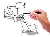 Hand drawing Interior design of  modern classic armchair / illustration on white board