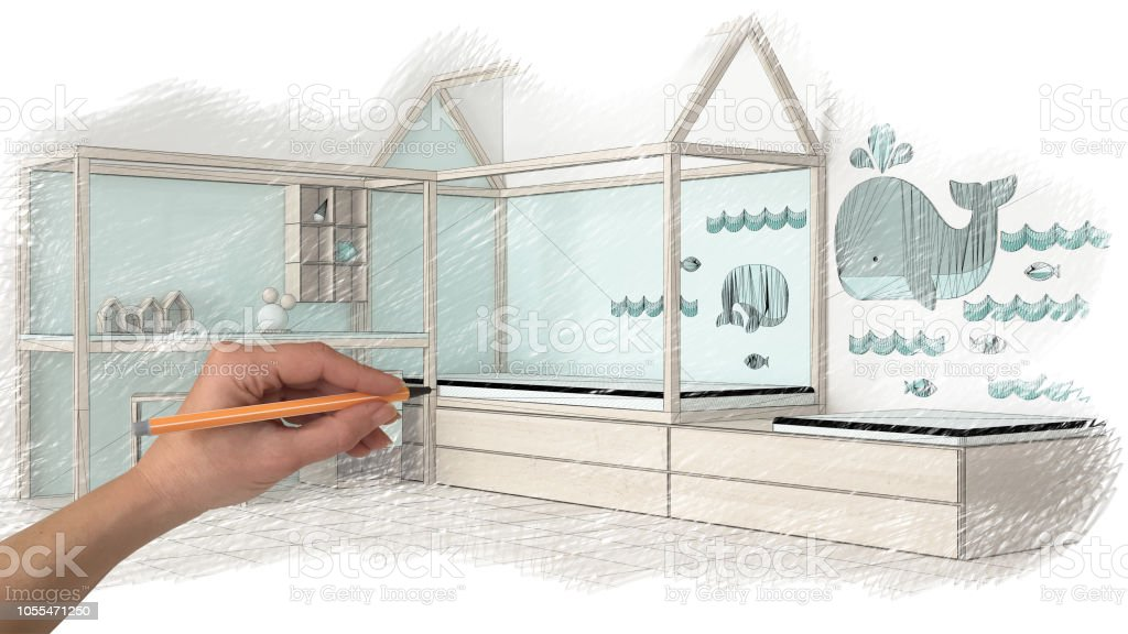 Hand Drawing Interior Design Sketch On White Paper