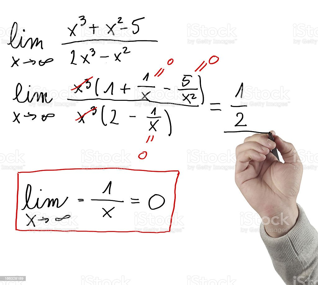 Hand drawing limit equation. stock photo