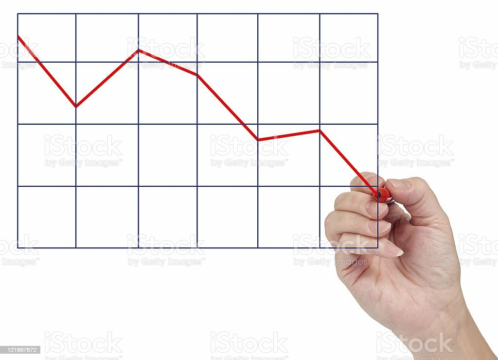 Hand Drawing Market Decline royalty-free stock photo