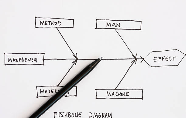 hand drawing of a fishbone diagram - diagram stock pictures, royalty-free photos & images