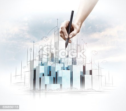 istock Hand drawing of urban scene. 536856115