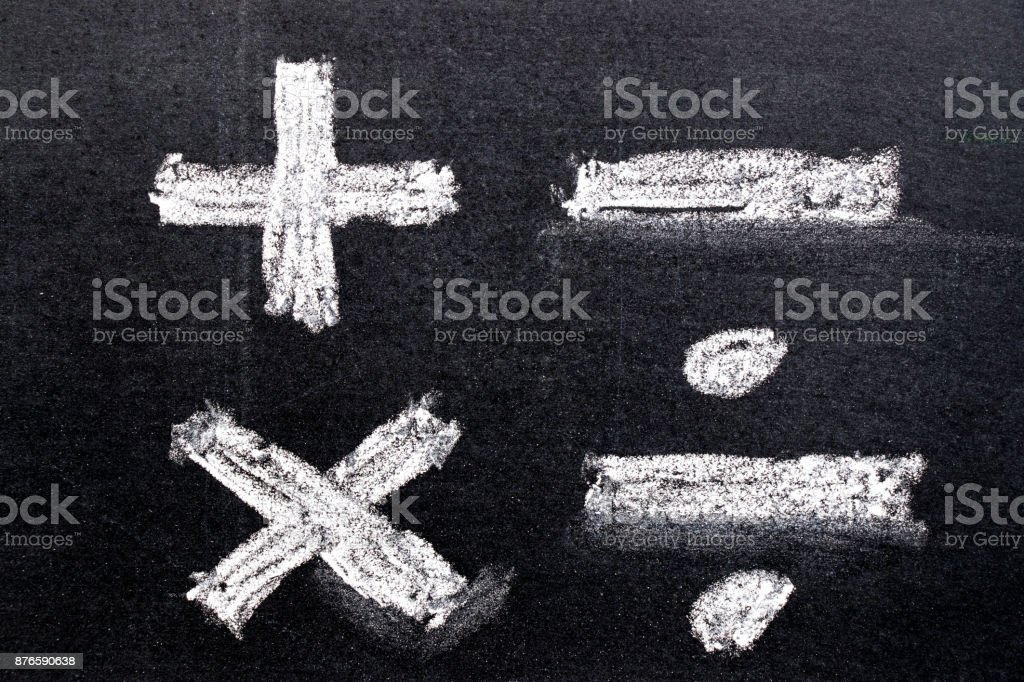 Hand drawing of white chalk in mathematics symbol shape (Plus, minus, multiply, divide) on black board background stock photo