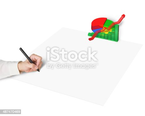 486439381istockphoto Hand drawing on paper with 3d chart 487470469