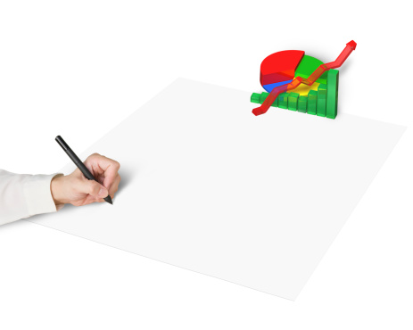 486439381 istock photo Hand drawing on paper with 3d chart 487470469