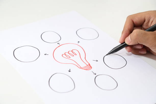 hand drawing paper of idea concept stock photo
