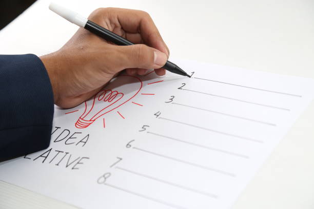 hand drawing paper of idea creative form list stock photo