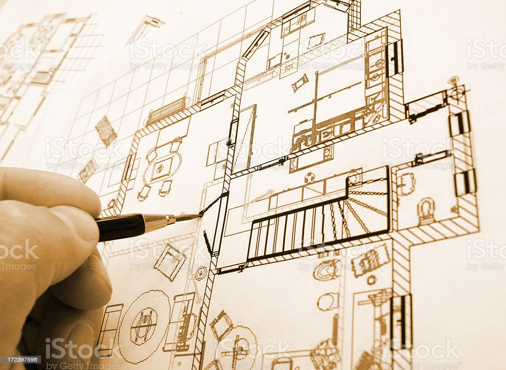 A hand drawing plans for architecture royalty-free stock photo