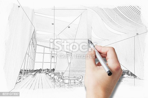 Male hand drawing spacious unfinished room project. 3D Rendering