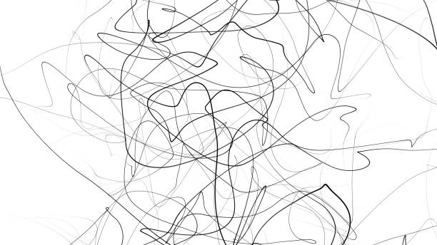 hand drawing scrawl sketch. abstract scribble, chaos doodle lines isolated on white background. abstract illustration - striato foto e immagini stock
