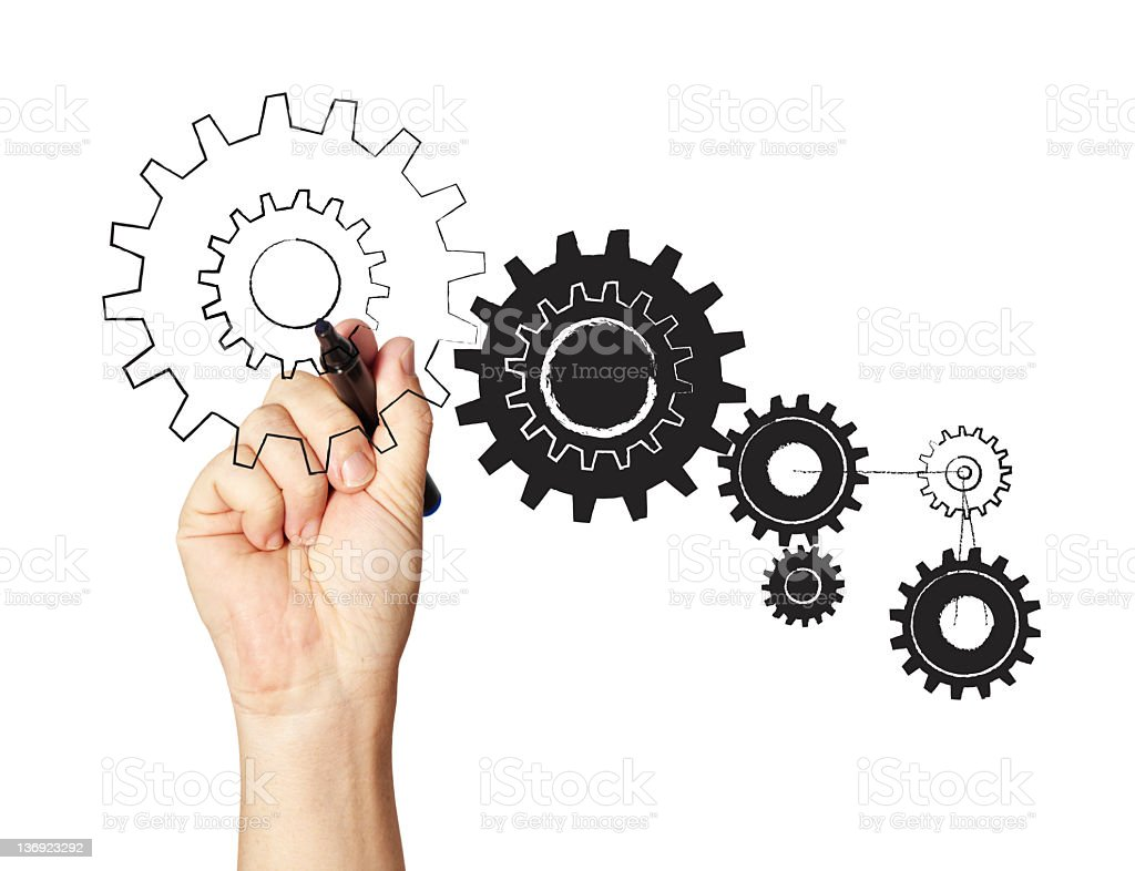 Hand drawing several gears isolated in white royalty-free stock photo