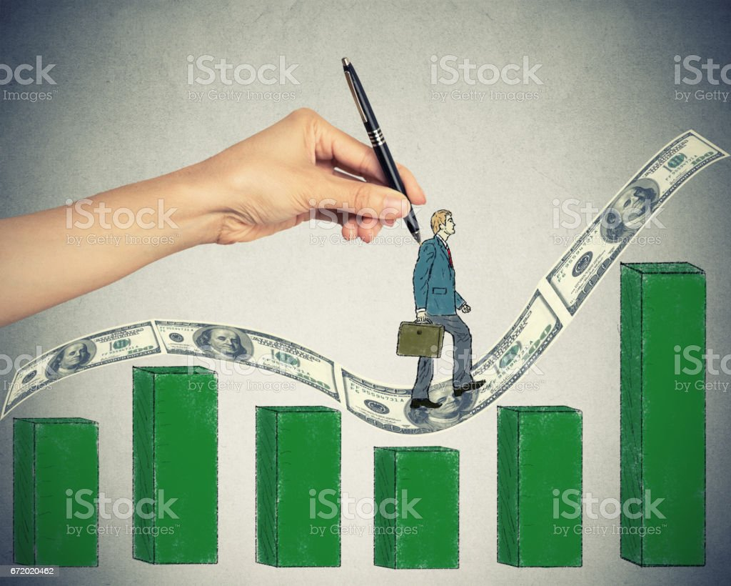 hand drawing sketch of a confident businessman climbing up on money dollar bills hill stairs growing chart. stock photo