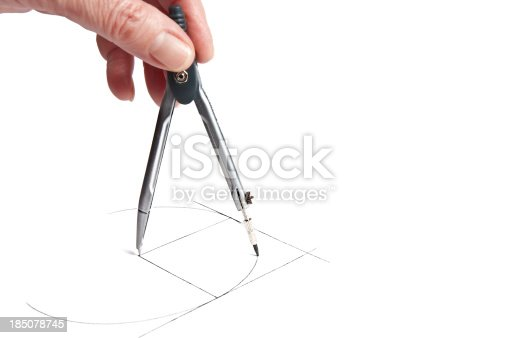 Hand drawing the circle between two tangent lines