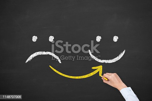 istock Hand Drawing Unhappy and Happy on Blackboard 1148707005