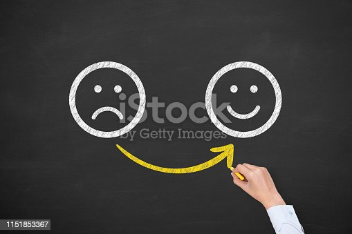 istock Hand Drawing Unhappy and Happy on Blackboard 1151853367