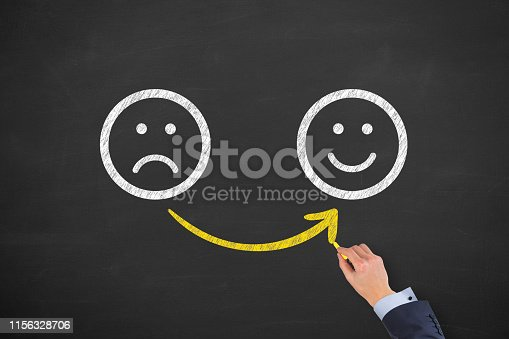 istock Hand Drawing Unhappy and Happy on Blackboard 1156328706