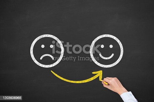 528903494 istock photo Hand Drawing Unhappy and Happy on Blackboard 1203606965