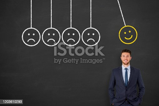 517629622 istock photo Hand Drawing Unhappy and Happy on Blackboard 1203610293