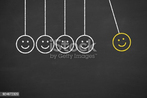 istock Hand Drawing Unhappy and Happy on Blackboard 924672320